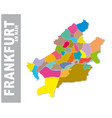 colorful frankfurt am main administrative map vector image vector image
