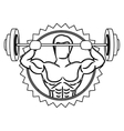 contour stamp border with muscle man lifting a vector image vector image