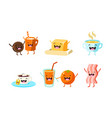 cute food and drinks characters set funny healthy vector image vector image