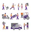 Delivery courier service person freight logistic vector image
