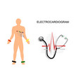 ekg the patient with the electrodes on the chest vector image vector image