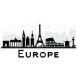 Europe Skyline Silhouette with Landmarks vector image vector image