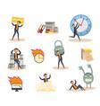 flat businessman deadline overwork set vector image vector image