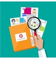 Folder and patient card hand magnifying glass vector image vector image