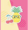 fresh pineapple and cherries fruits kawaii vector image vector image