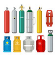 gas cylinders icons petroleum safety fuel metal vector image