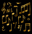 golden music notes and signs isolated on black vector image