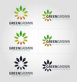 green grown - nature growth logo - flower logo vector image vector image