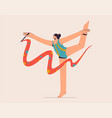 gymnast with ribbon performing at competition vector image
