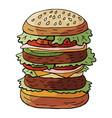 hand drawn huge hamburger on sesame bun vector image