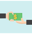 hand hold money in flat design vector image