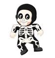 happy kid wearing skeleton costume vector image