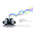 headphones with colorful waves vector image