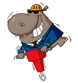 Hippo Worker Operating A Vibrating Jackhammer vector image vector image
