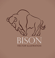 line logo sing emblem bison on lite brown vector image vector image