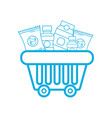 line shopping basket with delicious products to vector image