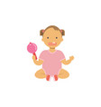 little baby dirl hold toy rattle happy children vector image
