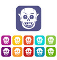 living dead icons set flat vector image