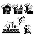 lucky man good luck people stick figure pictograph vector image