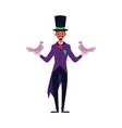 magician man makes trick with doves flat cartoon vector image vector image
