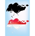 Map of Singapore with national flag vector image vector image