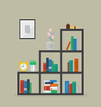 Minimal bookshelf with many books and flower vector image vector image