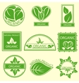 Organic natural emblems products labels logo vector image