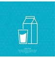 Paper packaging with a full glass of milk vector image vector image