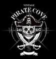 pirate skull grunge design for t-shirt vector image vector image