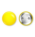 realistic yellow blank badge isolated on white vector image