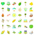 rest in nature icons set cartoon style vector image vector image