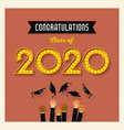 retro 2020 graduation greeting card vector image