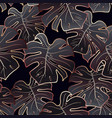rose gold and black monstera seamless pattern vector image