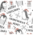 seamless background with penguins Holidays vector image vector image