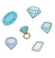 set of diamond vector image