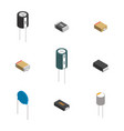 set of different 3d electronic components vector image vector image