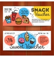 set of discount coupons for fast food and vector image