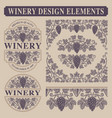 set vintage design elements for winery vector image