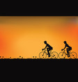silhouette of couple driving bike with beautiful vector image vector image