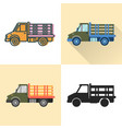 stake bed truck icon set in flat and line styles vector image vector image