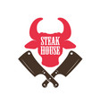 steak house bull head silhouette and crossed meat vector image vector image