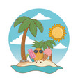 summer and beach cute cartoons vector image vector image