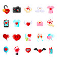valentine day set cartoon flat icons vector image