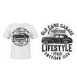 vintage car t-shirt print template vector image