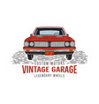 vintage hand drawn muscle car retro red american vector image vector image