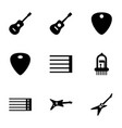 9 guitar icons vector image vector image