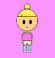 a girl in a pink t-shirt on a pink vector image vector image