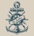 a vintage anchor and ship wheel vector image vector image