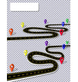 a winding road with signs on the background of a vector image vector image