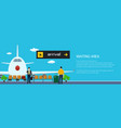 banner of passengers waiting for boarding a plane vector image